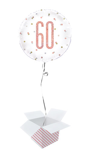 Rose Gold Glitz Age 60 Holographic Round Foil Helium Balloon - Inflated Balloon in a Box