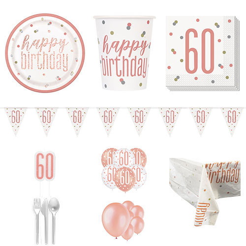 Rose Gold Glitz 60th Birthday 16 Person Deluxe Party Pack