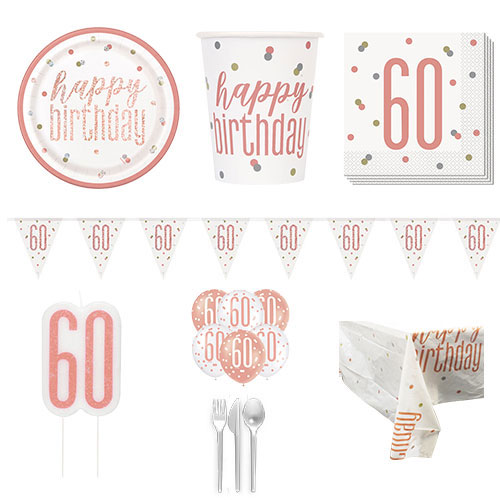 Rose Gold Glitz 60th Birthday 8 Person Deluxe Party Pack Product Image