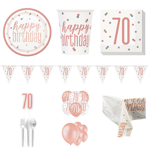 Rose Gold Glitz 70th Birthday 16 Person Deluxe Party Pack Product Image