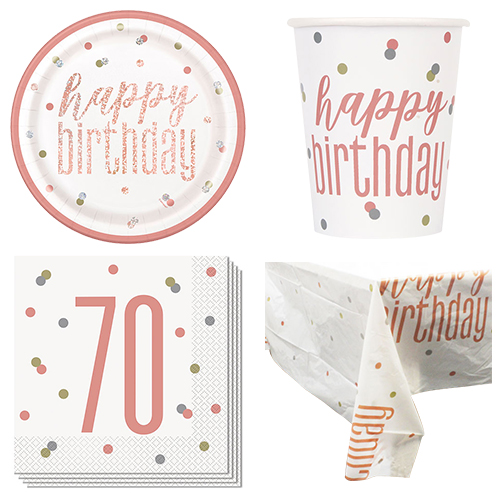 Rose Gold Glitz 70th Birthday 8 Person Value Party Pack