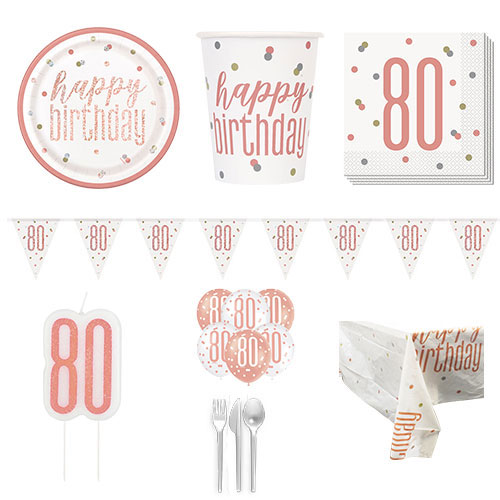 Rose Gold Glitz 80th Birthday 8 Person Deluxe Party Pack