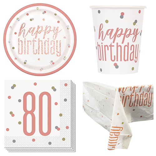 Rose Gold Glitz 80th Birthday 8 Person Value Party Pack