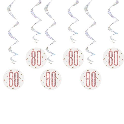 Rose Gold Glitz Age 80 Holographic Hanging Swirl Decorations - Pack of 6 Product Image
