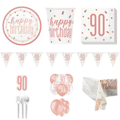 Rose Gold Glitz 90th Birthday 16 Person Deluxe Party Pack