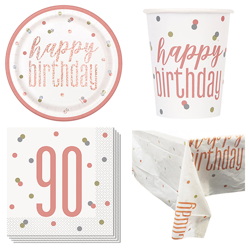 Rose Gold Glitz 90th Birthday 8 Person Value Party Pack