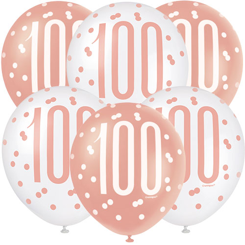 Rose Gold Glitz Age 100 Assorted Biodegradable Latex Balloons 30cm / 12 in - Pack of 6 Product Image