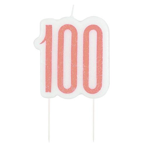 Rose Gold Glitz Age 100 Birthday Candle 9cm