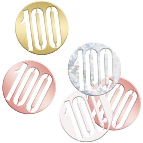 Rose Gold Glitz Age 100 Holographic Assorted Table Confetti 14 Grams
