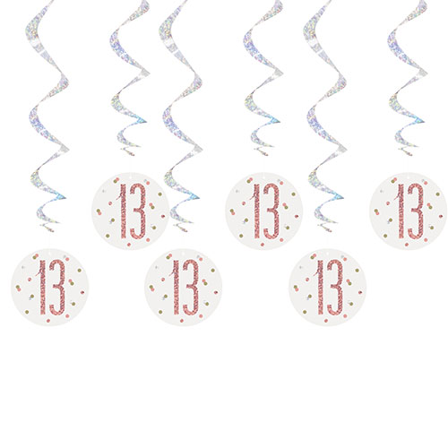 Rose Gold Glitz Age 13 Holographic Hanging Swirl Decorations - Pack of 6