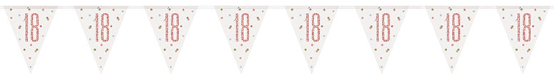 Rose Gold Glitz Age 18 Holographic Foil Pennant Bunting 274cm
