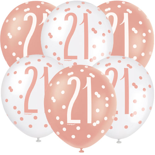Rose Gold Glitz Age 21 Assorted Biodegradable Latex Balloons 30cm / 12 in - Pack of 6 Product Image