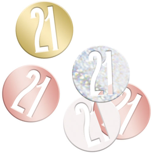 Rose Gold Glitz Age 21 Holographic Assorted Table Confetti 14 Grams