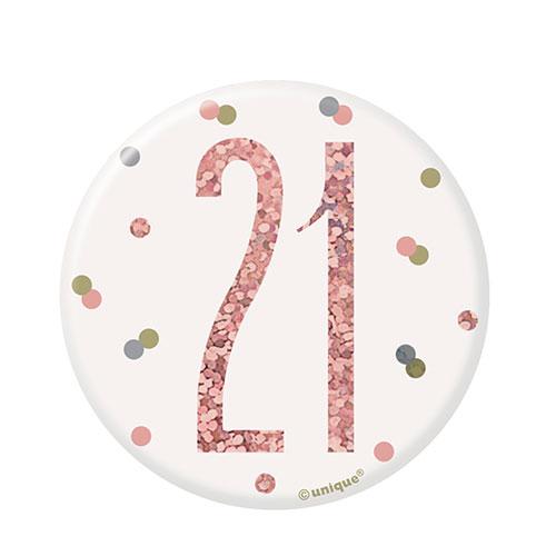 Rose Gold Glitz Age 21 Holographic Birthday Badge 7cm Product Image