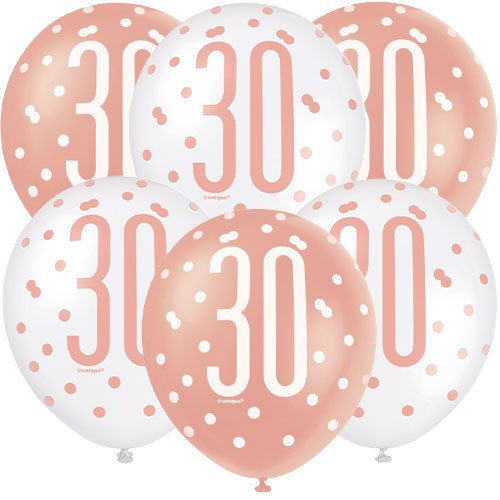 Rose Gold Glitz Age 30 Assorted Biodegradable Latex Balloons 30cm / 12 in - Pack of 6 Bundle Product Image