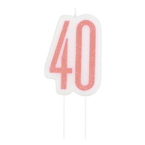 Rose Gold Glitz Age 40 Birthday Candle 9cm  Bundle Product Image