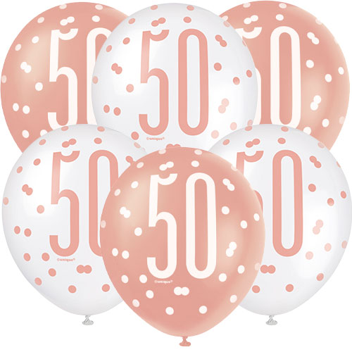 Rose Gold Glitz Age 50 Assorted Biodegradable Latex Balloons 30cm / 12 in - Pack of 6 Product Image