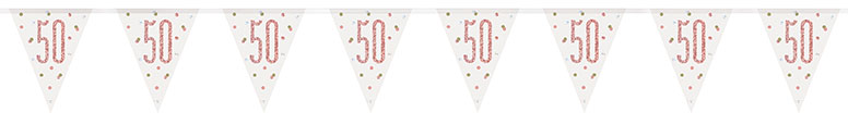 Rose Gold Glitz Age 50 Holographic Foil Pennant Bunting 274cm Product Image