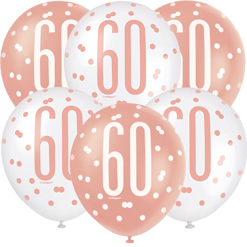 Rose Gold Glitz Age 60 Assorted Biodegradable Latex Balloons 30cm / 12 in - Pack of 6 Bundle Product Image
