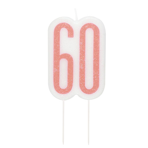 Rose Gold Glitz Age 60 Birthday Candle 9cm  Bundle Product Image
