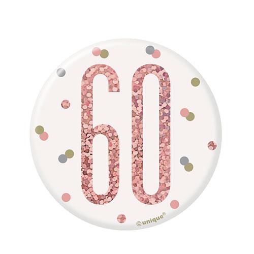 Rose Gold Glitz Age 60 Holographic Birthday Badge 7cm Product Image