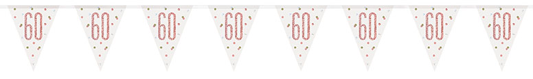 Rose Gold Glitz Age 60 Holographic Foil Pennant Bunting 274cm