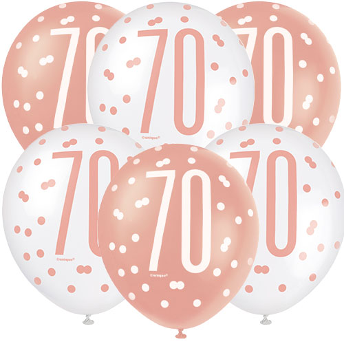 Rose Gold Glitz Age 70 Assorted Biodegradable Latex Balloons 30cm / 12 in - Pack of 6 Bundle Product Image