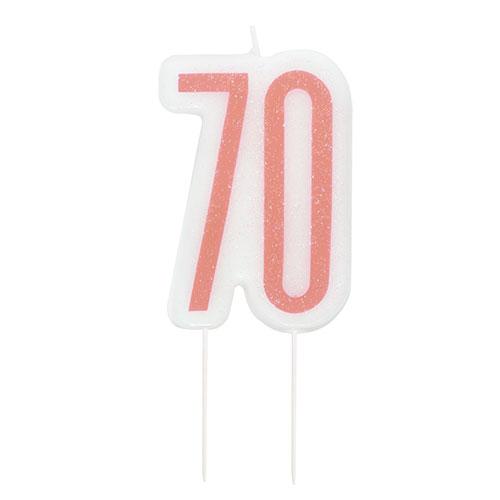 Rose Gold Glitz Age 70 Birthday Candle 9cm