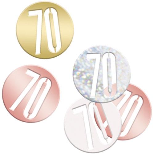 Rose Gold Glitz Age 70 Holographic Assorted Table Confetti 14 Grams