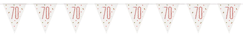 Rose Gold Glitz Age 70 Holographic Foil Pennant Bunting 274cm