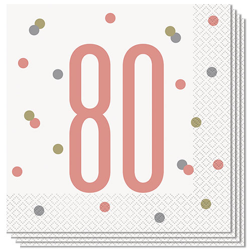 Rose Gold Glitz Age 80 Luncheon Napkins 33cm 2Ply - Pack of 16