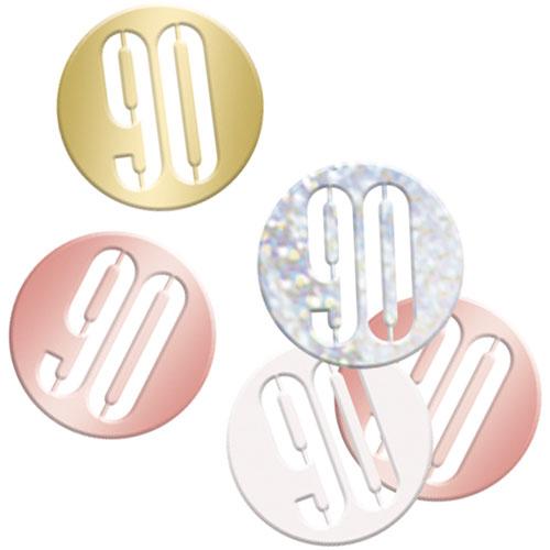 Rose Gold Glitz Age 90 Holographic Assorted Table Confetti 14 Grams