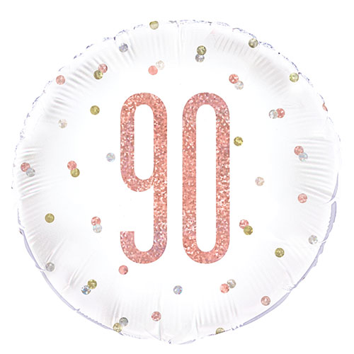 Rose Gold Glitz Age 90 Holographic Round Foil Helium Balloon 46cm / 18 in Product Image