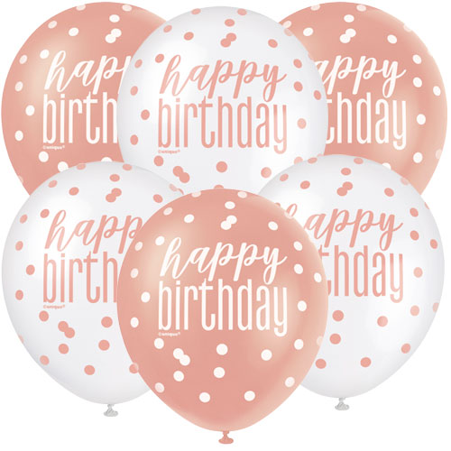 Rose Gold Glitz Happy Birthday Assorted Biodegradable Latex Balloons 30cm / 12 in - Pack of 6