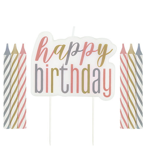 Rose Gold Glitz Happy Birthday Candle Set