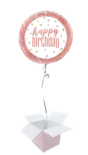Rose Gold Glitz Happy Birthday Holographic Round Foil Helium Balloon - Inflated Balloon in a Box Product Image