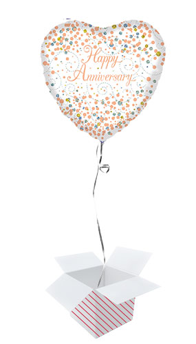 Holographic Rose Gold Happy Anniversary Heart Shape Foil Helium Balloon - Inflated Balloon in a Box Product Image