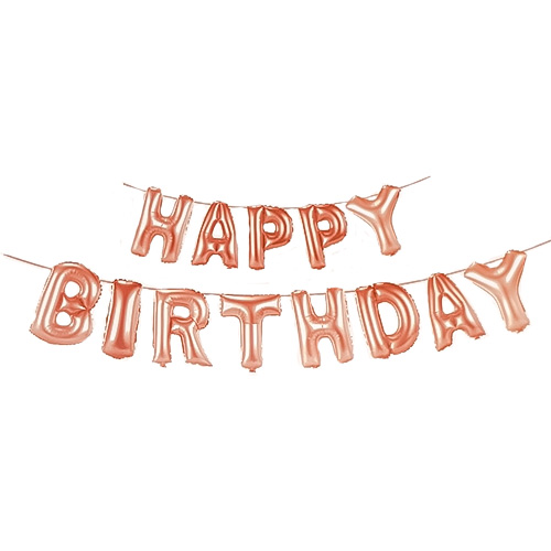Rose Gold HAPPY BIRTHDAY Air Fill Foil Letter Balloon Kit 34cm Product Image