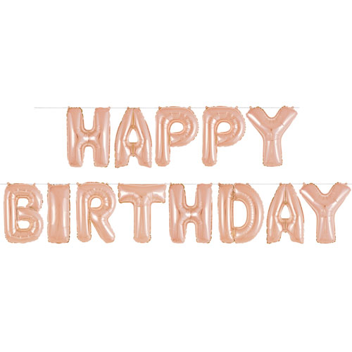 Rose Gold Happy Birthday Air Fill Foil Letter Balloon Kit 35cm