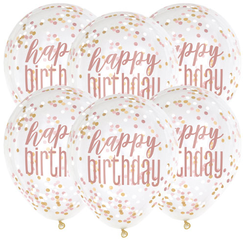 Rose Gold Happy Birthday Clear Biodegradable Latex Balloons With Confetti - Pack of 6 Product Image