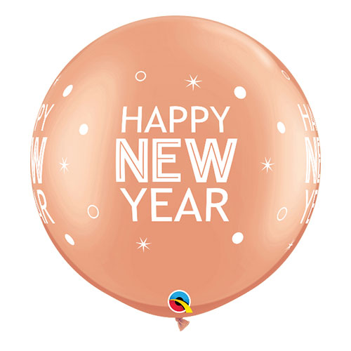 Rose Gold Happy New Year Round Jumbo Latex Qualatex Balloons 76cm / 30 in - Pack of 2 Product Image