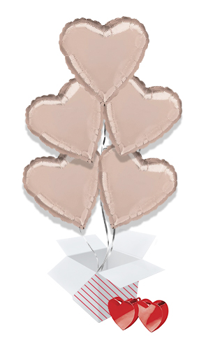Rose Gold Heart Foil Helium Valentine's Day Balloon Bouquet - 5 Inflated Balloons In A Box Product Image
