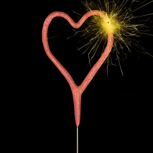 Rose Gold Heart Shape Non Hand Held Sparkler 17cm