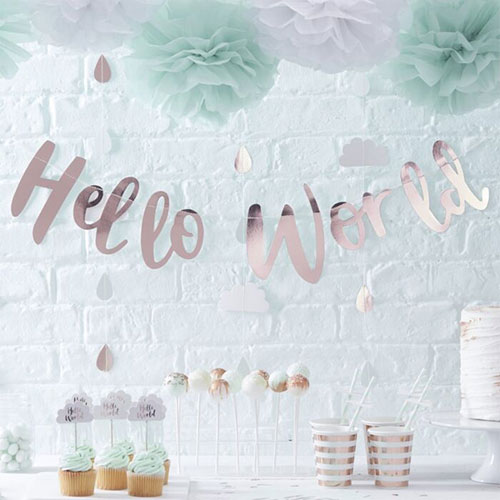 Rose Gold Hello World Baby Arrival Foiled Cardboard Letter Banner 150cm Product Gallery Image