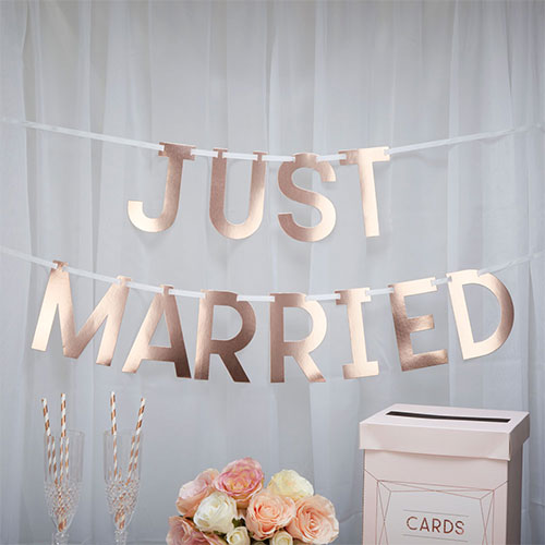 Rose Gold Just Married Foiled Cardboard Banner 150cm Product Gallery Image