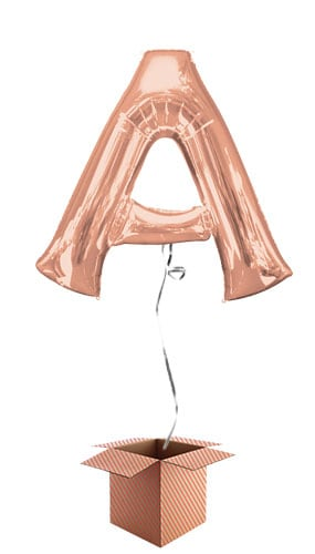 Rose Gold Letter A Helium Foil Giant Balloon - Inflated Balloon in a Box Product Image