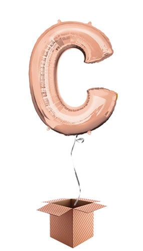Rose Gold Letter C Helium Foil Giant Balloon - Inflated Balloon in a Box Product Image