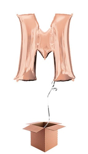 Rose Gold Letter M Helium Foil Giant Balloon - Inflated Balloon in a Box Product Image
