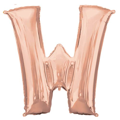 Rose Gold Letter W Helium Foil Giant Balloon 83cm / 33 in Product Image