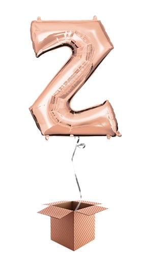 Rose Gold Letter Z Helium Foil Giant Balloon - Inflated Balloon in a Box Product Image